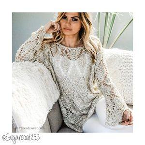 •Watermelon• Gold Open Knit Sweater